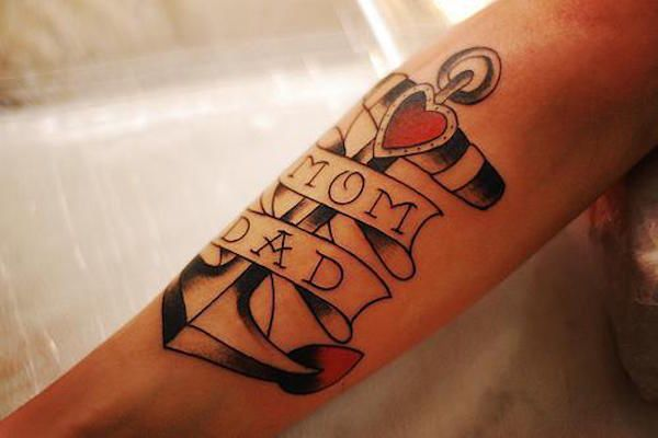 Якорь и сердце. Фото картинки Тату Мама и Папа. mom & dad tattoo