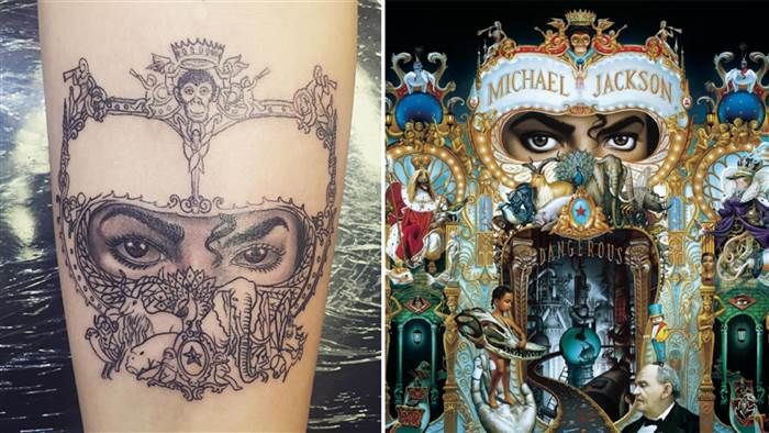 В 2016 году Пэрис дебютировала чернилами на предплечье: тату мульти-платинового альбома отца «Dangerous»1989 года.Изображение показывает глаза Майкла Джексона в причудливой рамке с рисунками обезьяны, слона и павлина