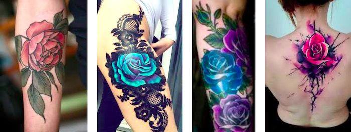цвет розы в татуировке значение