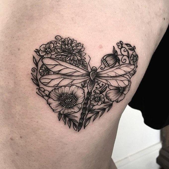 Тату стрекоза. Фото и значение on-tattoo сердце
