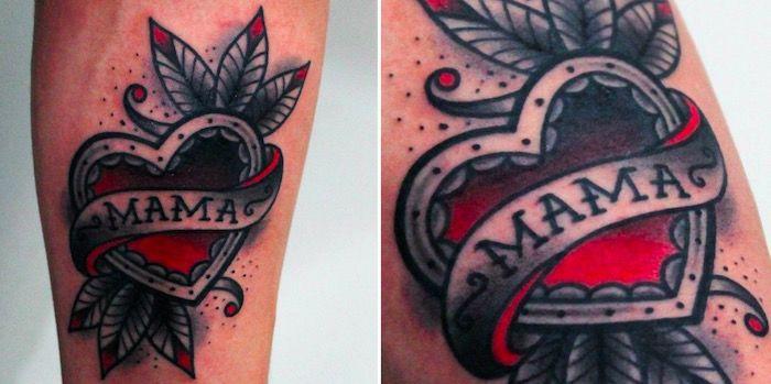 татуировка красное сердце и слово мама tattoo mama foto