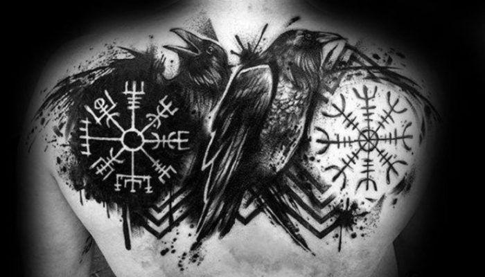 Рунический компас Вегвизир в татуировках