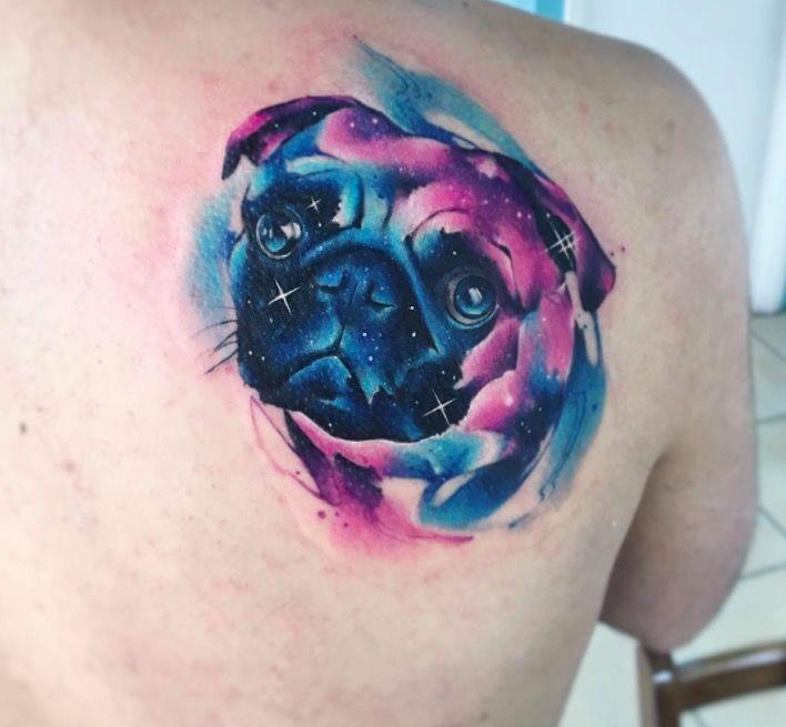 Акварельные татуировки тату-художника Adrian Bascur, фото мопс