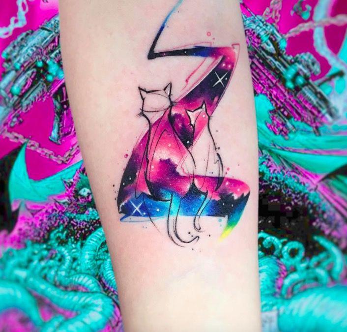 Акварельные татуировки тату-художника Adrian Bascur, фото коты