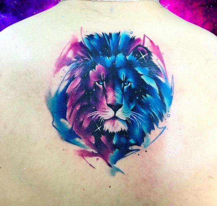 Акварельные татуировки тату-художника Adrian Bascur, фото лев