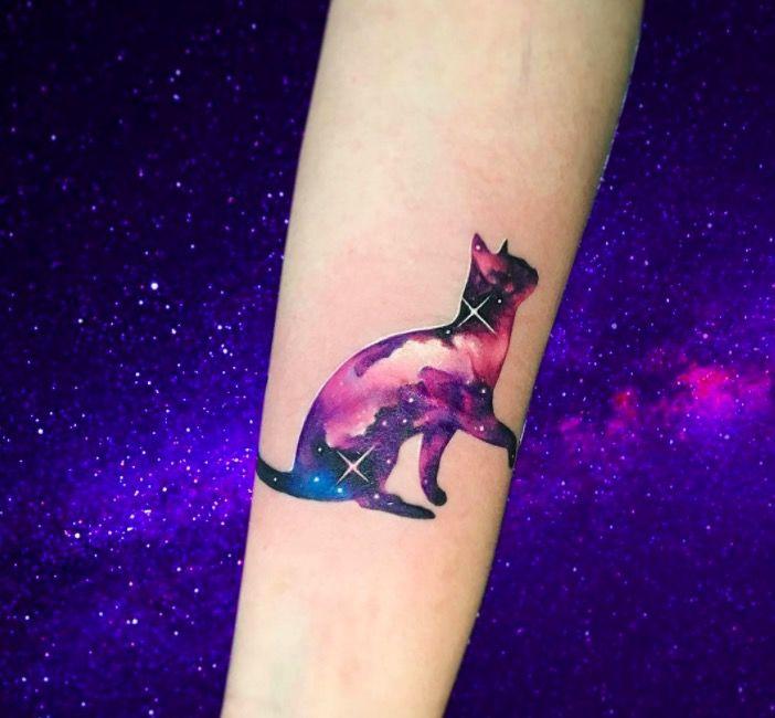 Акварельные татуировки тату-художника Adrian Bascur, фото кошка