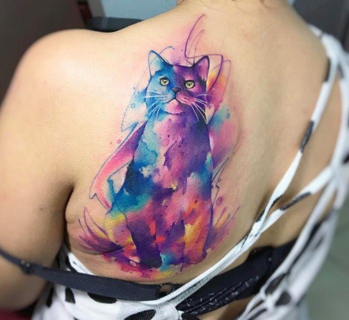 Акварельные татуировки тату-художника Adrian Bascur, фото котик