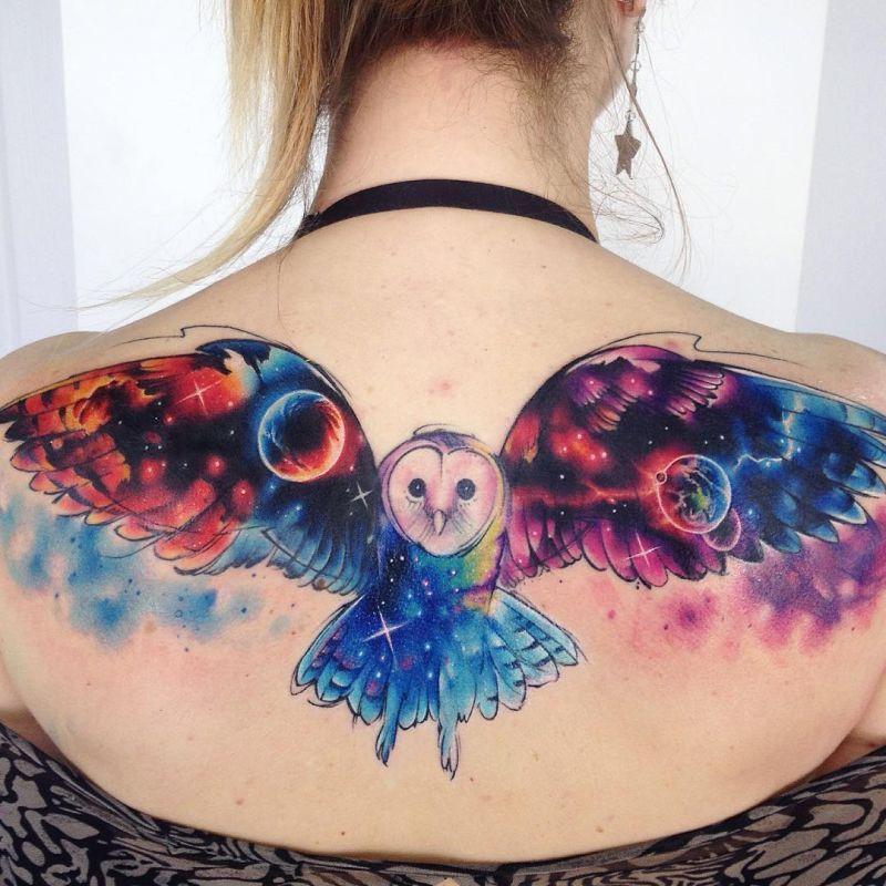 Акварельные татуировки тату-художника Adrian Bascur, фото сова