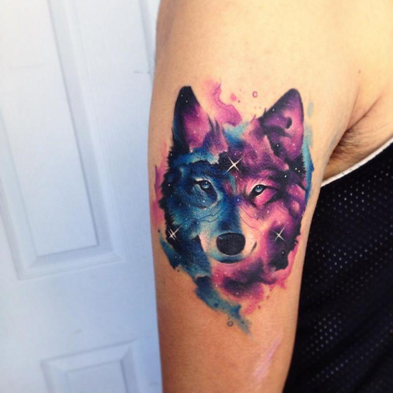 Акварельные татуировки тату-художника Adrian Bascur, фото волк
