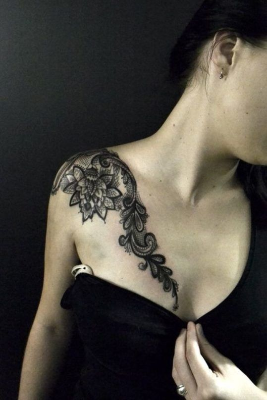тату кружева для девушек фото каталог татуировок плеч