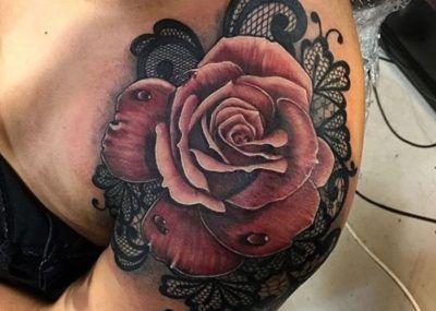тату кружева роза