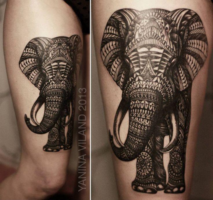 тату слон фото мандала