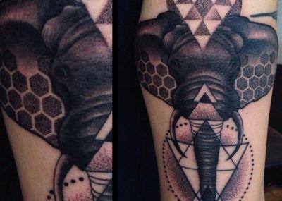 тату слон фото геометрия