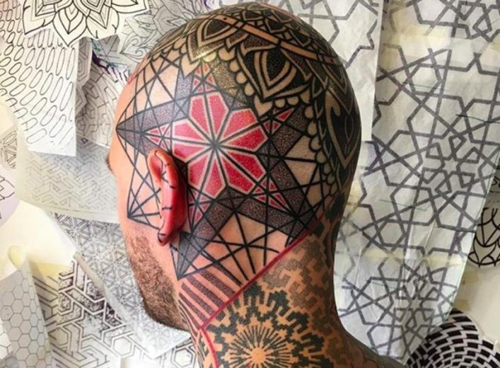 Red And Black Geometric Tattoos By Marco Galdo фото