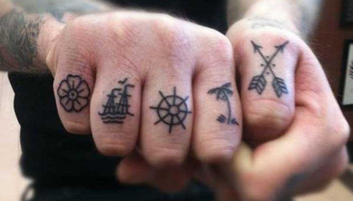 Тату на пальцах - 100 ФОТО!