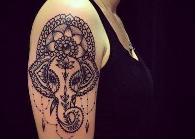 Татуировки в стиле Мехенди фото каталог тату для девушек слон