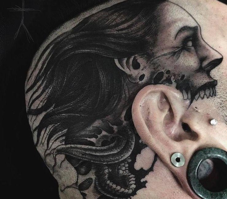 devil blackwork tattoo