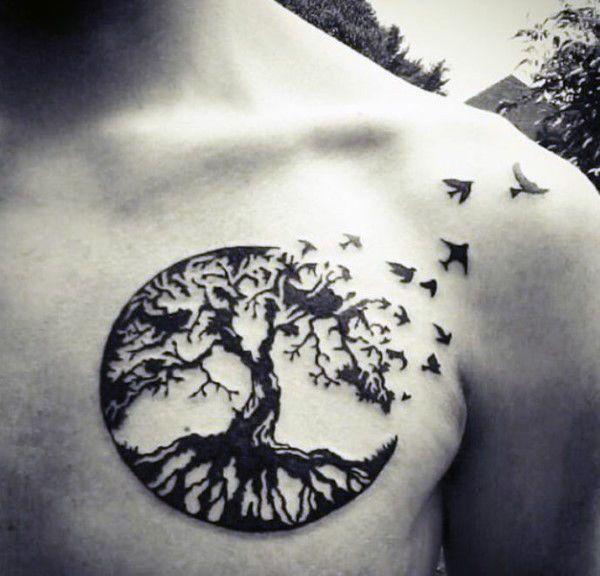 татуировка дуб и птицы