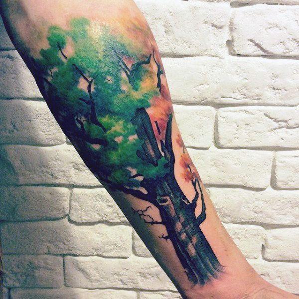 татуировка дуб осенний