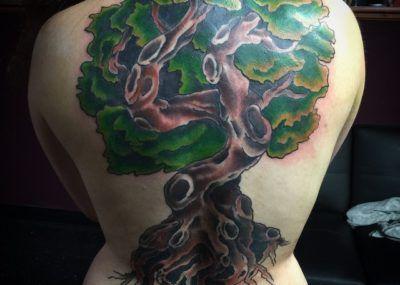 татуировка дуба на спине