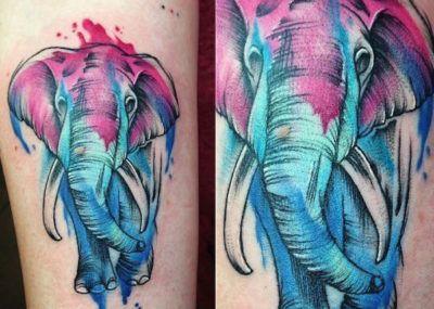 тату слон акварель