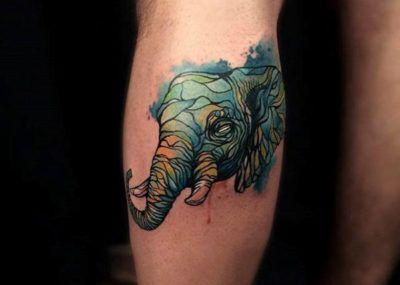 тату слон цветной