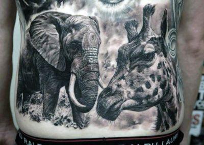 тату слон и жираф