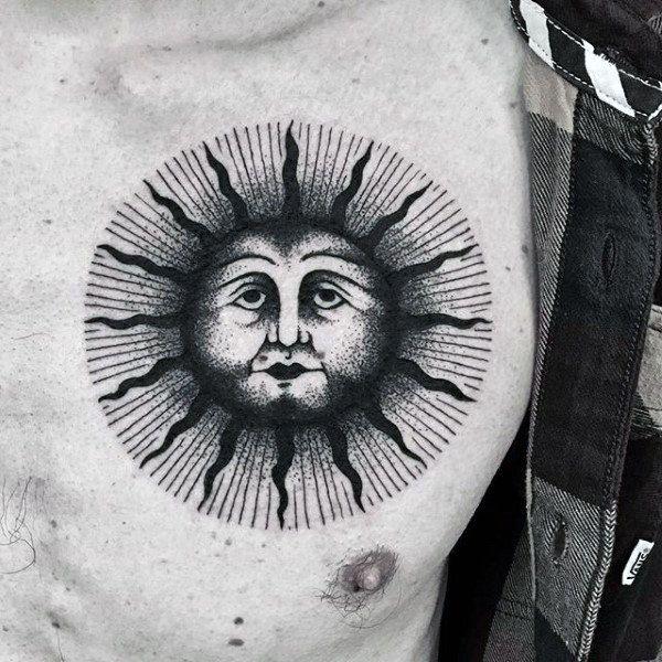 Блекворк тату Солнце