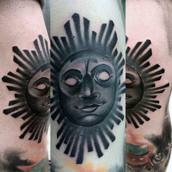 Blackwork sun tattoo