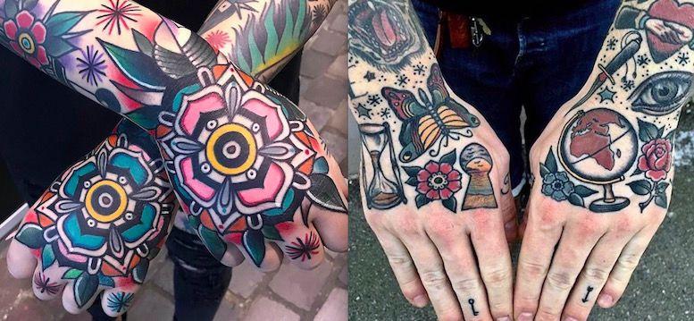 цветные татуировки на руках