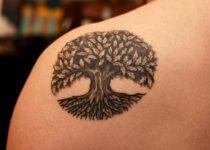 тату дерево бук на спине