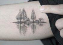 тату деревья осина на руке