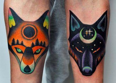 Тату Лис и Волк