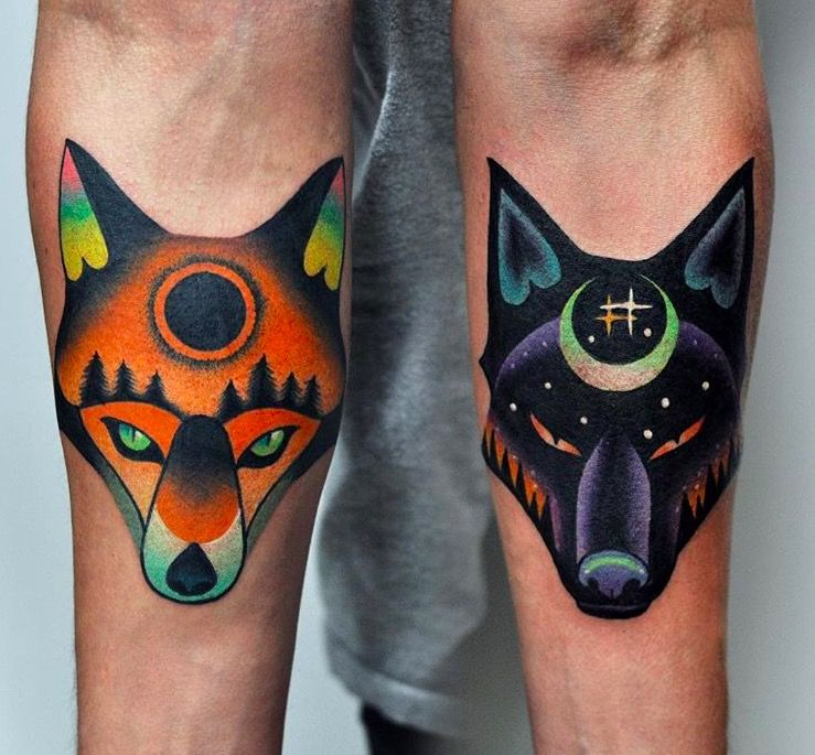 Sunfox and moonwolf