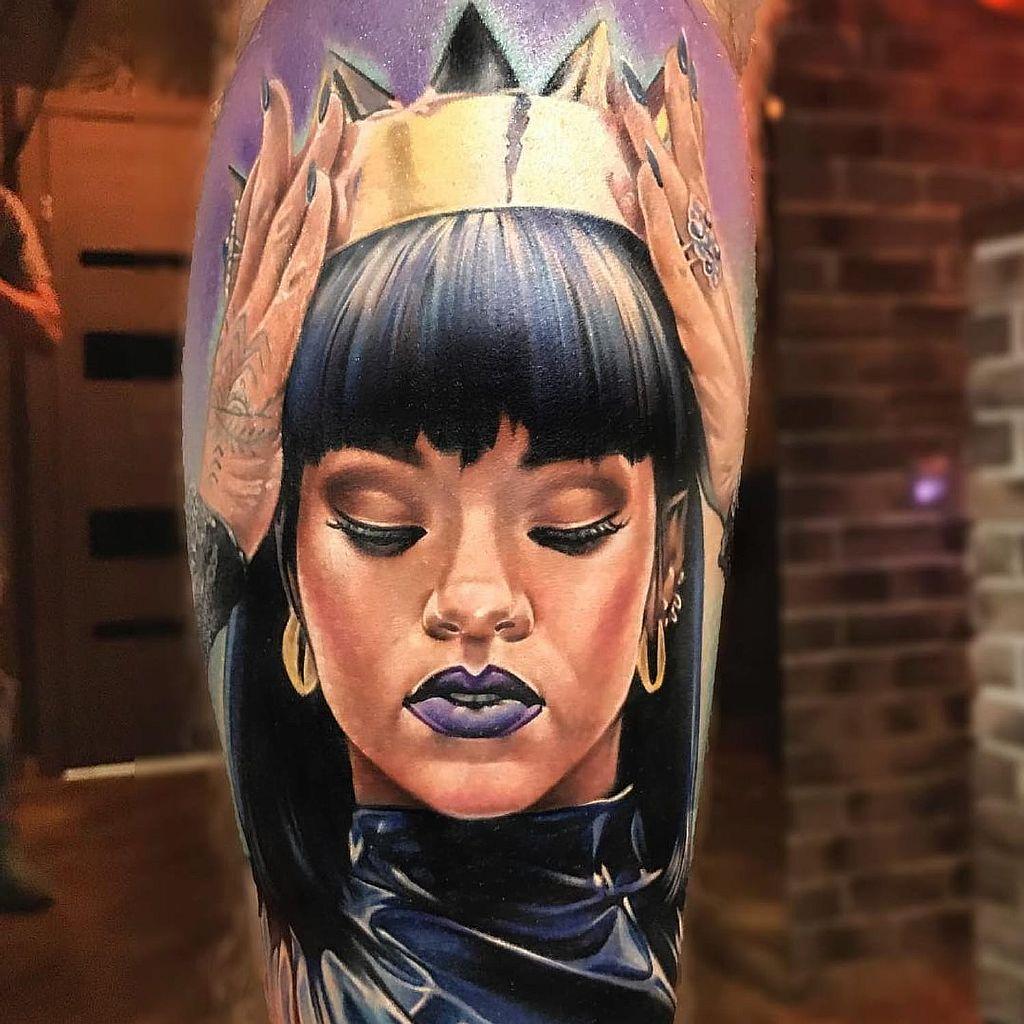 Rihanna tattoo by Anjelika Kartasheva