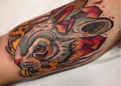 Тату кролик цветной