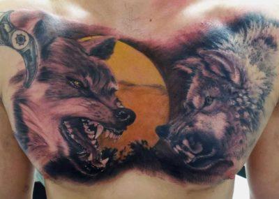 волка в татуировке