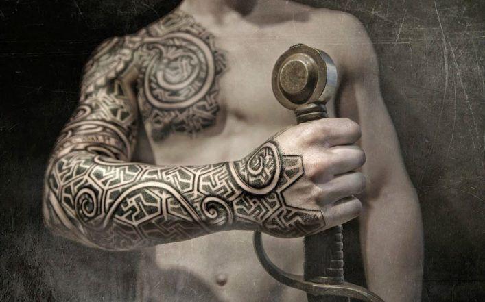 татуировок в стиле дотворк