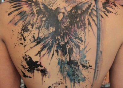 тату орел на спине