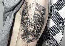 скетч стайл в тату на руке дьявол
