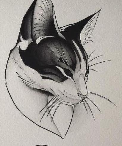 Кот. Эскизы тату (120 фото)23