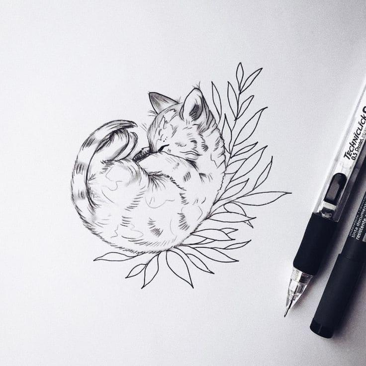 Кот. Эскизы тату (120 фото)32