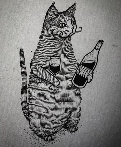 Кот. Эскизы тату (120 фото)37