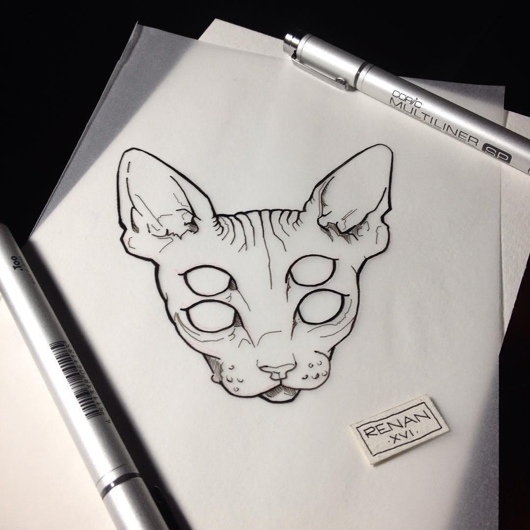 Кот. Эскизы тату (120 фото)38