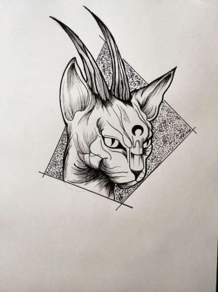 Кот. Эскизы тату (120 фото)24