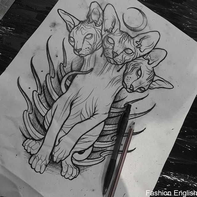 Кот. Эскизы тату (120 фото)43