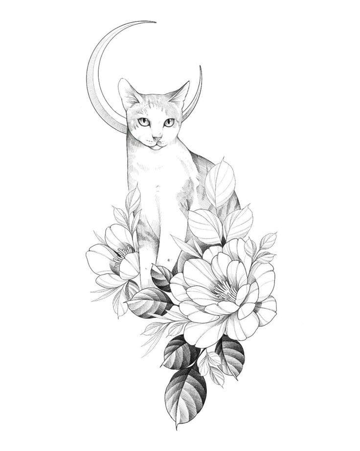 Кот. Эскизы тату (120 фото)45