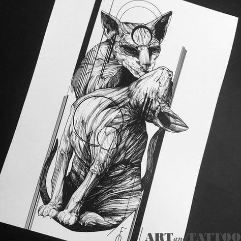 Кот. Эскизы тату (120 фото)51