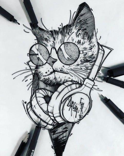 Кот. Эскизы тату (120 фото)53