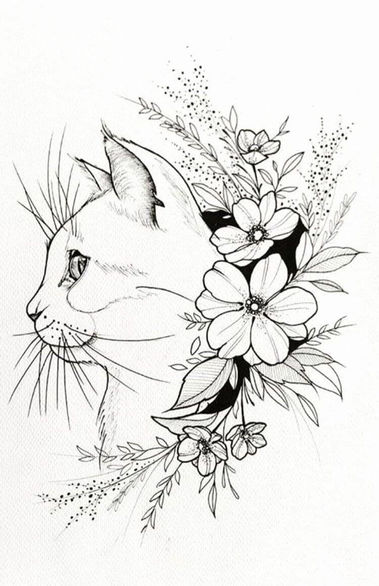 Кот. Эскизы тату (120 фото)26